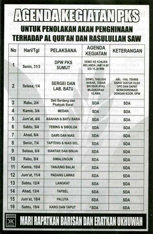 Agenda Kegiatan PKS Sumut atas 'FITNA